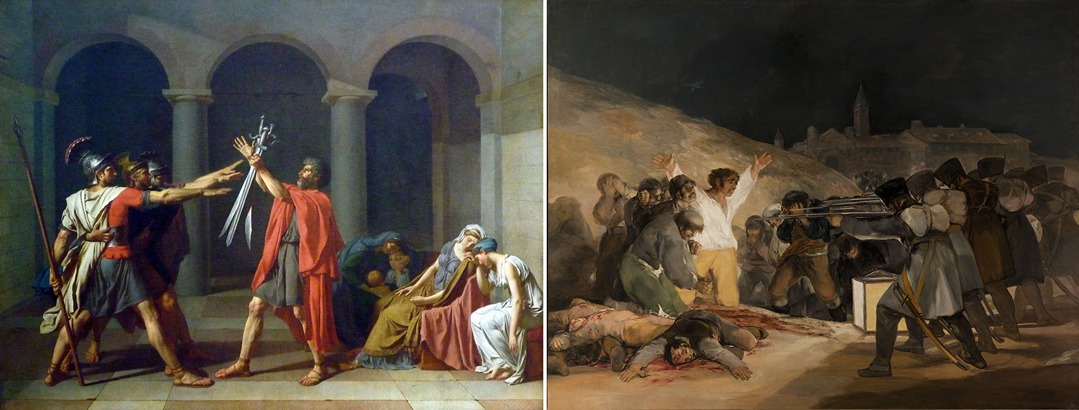 "Left: Jacques-Louis David, Oath of the Horatii, oil on canvas, 3.3 x 4.25m, commissioned by Louis XVI, painted in Rome, exhibited at the salon of 1785 (Musée du Louvre); right: Francisco Goya, The Third of May, 1808, 1814-15, oil on canvas, 8' 9"" x 13' 4"" (Museo del Prado, Madrid)"