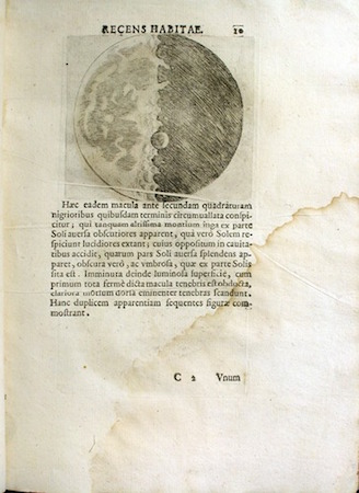 Image of the moon, from Galileo's presentation copy of the Sidereus nuncius (1610), courtesy History of Science Collections, University of Oklahoma Libraries