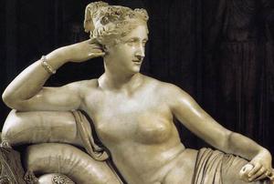 Detail, Antonio Canova, Paolina Borghese as Venus Victorious, 1804-08, white marble, 160 x 192 cm (Galleria Borghese, Rome)