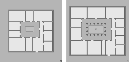 Plans Tuscan atrium, left (both CC BY-SA 3.0) and Corinthian atrium, right