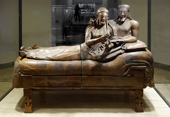 Sarcophagus of the Spouses, c. 520 B.C.E., Etruscan, painted terracotta, 3 feet 9-1/2 inches x 6 feet 7 inches, found in the Banditaccia necropolis, Cerveteri (Museo Nazionale di Villa Giulia in Rome)