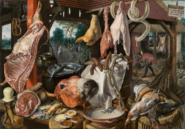 "Pieter Aertsen, A Meat Stall with the Holy Family Giving Alms, 1551, oil on panel 45 1/2 x 66 1/2"" / 115.6 x 168.9 cm (North Carolina Museum of Art). Other versions include one in the University Art Collections, Uppsala University, Sweden."