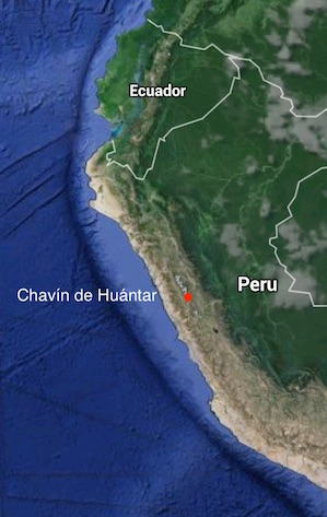 Map showing location of Chavín de Huántar (Imagery ©2015 Data SIO, NOAA, U.S. Navy, NGA, GEBCO, Landsat, Map Data ©2015 Google)