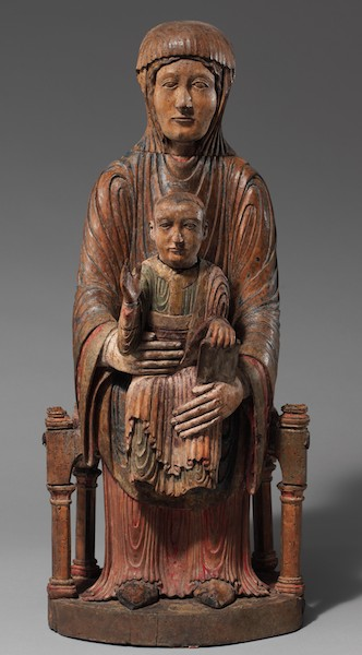 Enthroned Virgin and Child, 1150-1200, Auvergne, France, walnut with gesso, paint, tin leaf, and traces of linen, 27 inches (Cloisters Collection, The Metropolitan Museum of Art, New York)