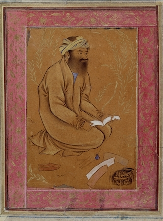 Riza-yi ʿAbbasi, Seated calligrapher, a drawing from Isfahan, Iran, c. 1600, 10 x 7 cm, © The Trustees of the British Museum