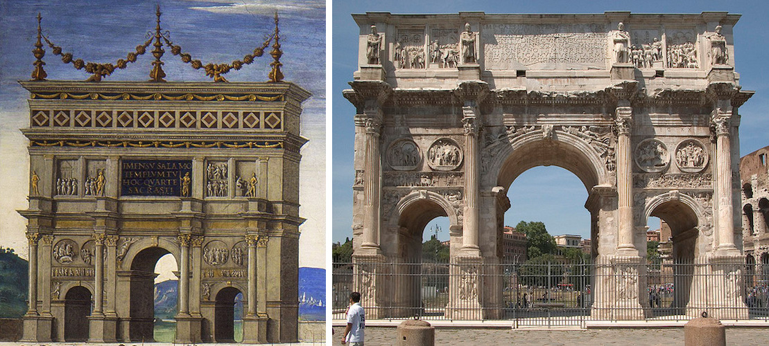 Left: Arch (detail), Perugino, Christ Giving the Keys of the Kingdom to St. Peter, Sistine Chapel, 1481-83, (Vatican, Rome); right: Arch of Constantine, 315 C.E., Rome (photo: Steven Zucker, CC BY-NC-SA 2.0)