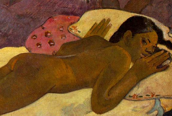 Nude (detail), Paul Gauguin, Spirit of the Dead Watching, 1892, oil on burlap mounted on canvas, 116.05 x 134.62 x 13.34 cm (Albright-Knox Art Gallery, Buffalo, NY)
