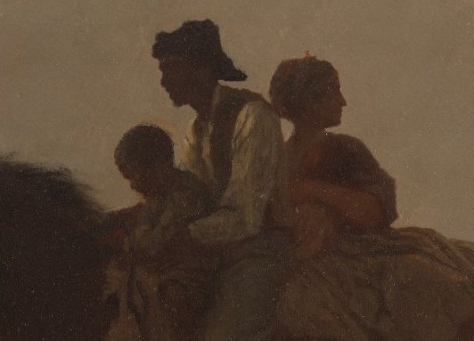 Family (detail), Eastman Johnson, A Ride for Liberty -- The Fugitive Slaves, c. 1862, oil on paper board, 55.8 x 66.4 cm (Brooklyn Museum)
