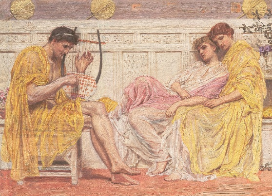 Albert Joseph Moore, A Musician, c. 1867, oil on canvas, 8.7 x 28.6 cm (Yale Center for British Art, New Haven, CT)