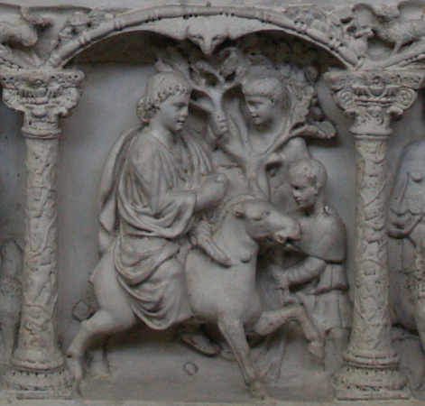 Christ's Entry into Jerusalem, Sarcophagus of Junius Bassus, 359 C.E., marble, (Treasury of St. Peter's Basilica); (cropped photo, originally by Miguel Hermoso Cuesta CC BY-SA 3.0)