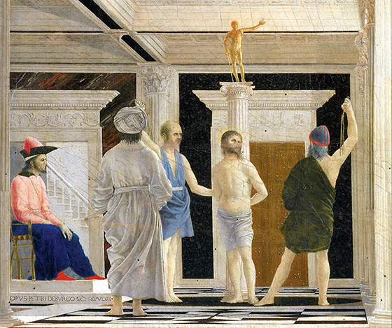 Christ tied to a column, being flogged by two men (detail), Piero della Francesca, Flagellation of Christ, c. 1455-65, oil and tempera on wood, 58.4 × 81.5 cm (Galleria Nazionale delle Marche, Urbino)
