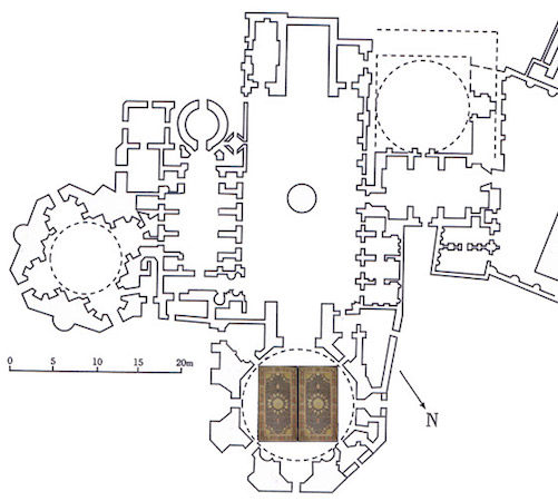 Plan of the shrine at Ardabil, showing where the carpets were situated (permission, Victoria and Albert Museum)
