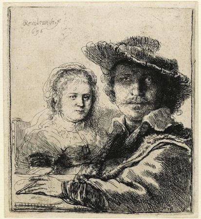 Rembrandt van Rijn, Self-Portrait with Saskia, 1636, etching, 104 x 95 cm (Fitzwilliam Museum)