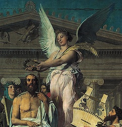 Homer crowned by Nike (detail), Ingres, The Apotheosis of Homer, 1827, oil on canvas, 3.86 x 5.12 meters (Louvre, Paris)