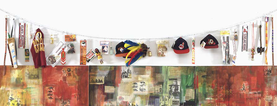 Jaune Quick-to-See Smith, toys and souvenirs (detail), Trade (Gifts for Trading Land with White People), 1992, oil paint and mixed media, collage, objects, canvas, 152.4 x 431.8 cm (Chrysler Museum of Art, Norfolk, Virginia) © Jaune Quick-to-See Smith