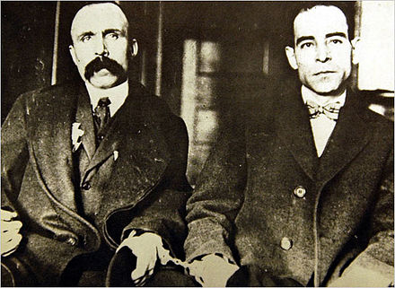 Bartolomeo Vanzetti (left) and Nicola Sacco (right) in 1923
