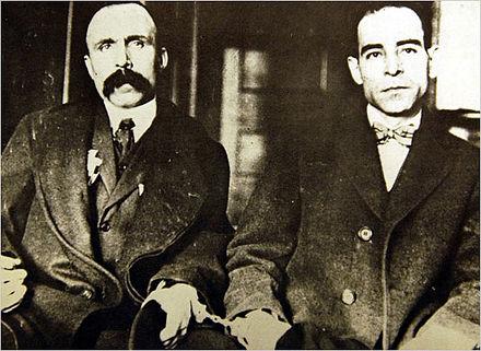 Bartolomeo Vanzetti (left) and Nicola Sacco (right) in 1923