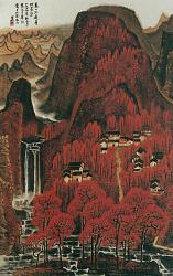 Li Keran, Ten Thousand Crimson Hills, 1964, hanging scroll, ink and color on paper (collection of the Artist's Family, Beijing)