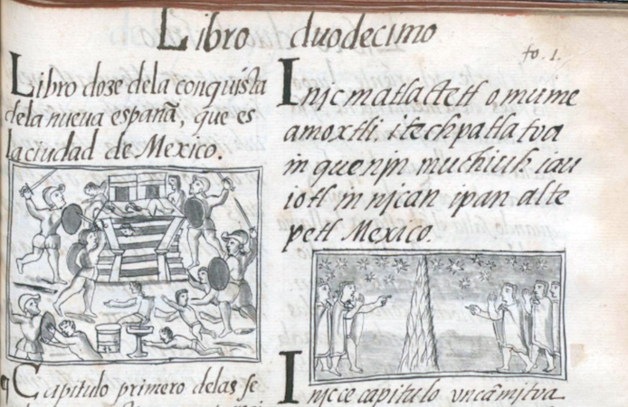 Toxcatl massacre (detail), Bernardino de Sahagún and collaborators, General History of the Things of New Spain, also called the Florentine Codex, vol. 3, book 12, f. 1v, 1575-1577, watercolor, paper, contemporary vellum Spanish binding, open (approx.): 32 x 43 cm, closed (approx.): 32 x 22 x 5 cm (Medicea Laurenziana Library, Florence, Italy)