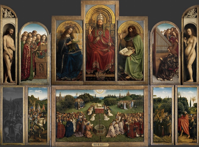 Jan van Eyck, Ghent Altarpiece (open), completed 1432, oil on wood, 11 feet 5 inches x 15 feet 1 inch (open), Saint Bavo Cathedral, Ghent, Belgium. Note: Just Judges panel on the lower left is a modern copy (photo: Closer to Van Eyck)