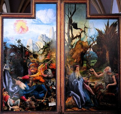 Far left and far right panels seen when altarpiece is fully open (here illustrated sided-by-side). The Temptations of Saint Anthony (left), Anthony visited by Saint Paul (right), Isenheim Altarpiece