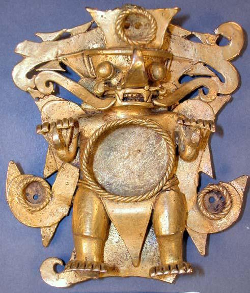 "Mirror Pendant in the Form of a Bat-Human, from Grave 5, Sitio Conte, Coclé Province, Panama, gold, c. 850, 3 11/16"" x 3 3/16"" x 1 1/8"" (Peabody Museum of Archaeology and Ethnology, Harvard University)"