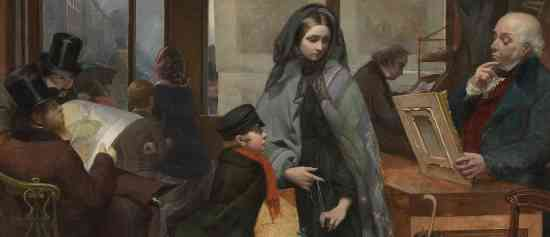"Men surrounding the woman in the print seller shop (detail), Emily Mary Osborn, Nameless and Friendless, ""The rich man's wealth is his strong city: the destruction of the poor is their poverty"" (Proverbs: 10:15), 1857, oil on canvas, 82 x 104cm (Tate Britain, London)"
