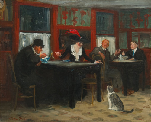 "John Sloan, Chinese Restaurant, 1909, oil on canvas, 26 x 32 1/4"" / 66 x 81.9 cm (Memorial Art Gallery of the University of Rochester)"