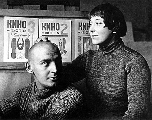 Alexander Rodchenko and Varvara Stepanova in their studio 1922 (photo: Mikhail Kaufman[?])