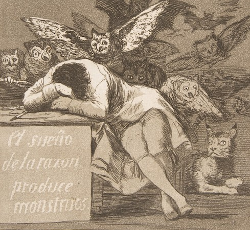 "Figure asleep (detail), Goya, Plate 43, ""Los Caprichos"": The sleep of reason produces monsters, 1799, etching, aquatint, drypoint, and burin, plate: 21.2 x 15.1 cm  (The Metropolitan  Museum of Art)"