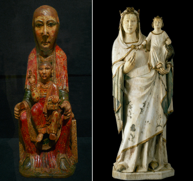 Left: Virgin from Ger, second half of the 12th century, wood, tempera, and stucco, 51.8 x 20.5 x 15.5 cm (Museu Nacional d'Art de Catalunya, Barcelona) ; right: Virgin, c. 1330-40, carved alabaster with remains of polychrome and gold leaf, 42.5 x 112 cm (Museu Nacional d'Art de Catalunya, Barcelona)