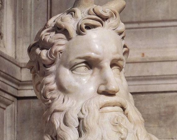 Moses (detail), Michelangelo, Tomb of Pope Julius II, c. 1513-1515, marble, 235 cm (San Pietro in Vincoli, Rome)