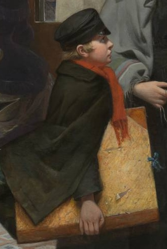 "Young boy looking up at woman with expectation (detail), Emily Mary Osborn, Nameless and Friendless, ""The rich man's wealth is his strong city: the destruction of the poor is their poverty"" (Proverbs: 10:15), 1857, oil on canvas, 82 x 104 cm (Tate Britain, London)"