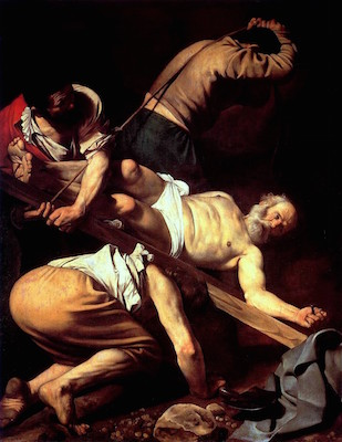Caravaggio, Crucifixion of St. Peter, oil on canvas, 1601 (Santa Maria del Popolo, Rome)