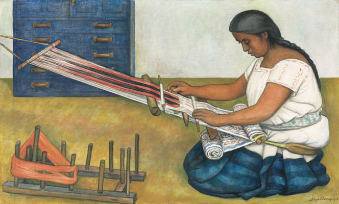 Weaving on a backstrap loom, Diego Rivera, The Weaver, 1936, tempera and oil on canvas, 66 x 106.7 cm (Art Institute of Chicago)