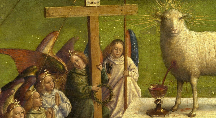 Adoration of the Mystic Lamb, detail, Jan van Eyck, Ghent Altarpiece (open), completed 1432, oil on wood, 11 feet 5 inches x 15 feet 1 inch, Saint Bavo Cathedral, Ghent, Belgium (photo: Closer to Van Eyck)