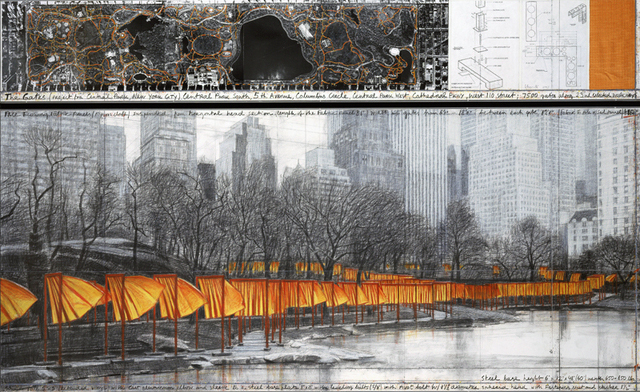 Christo, The Gates (Project for Central Park, New York City), 2003, 38 x 244 cm and 106.6 x 244 cm, pencil, charcoal, pastel, crayon, fabric sample, aerial photograph (Whitney Museum of American Art) © 2003 Christo