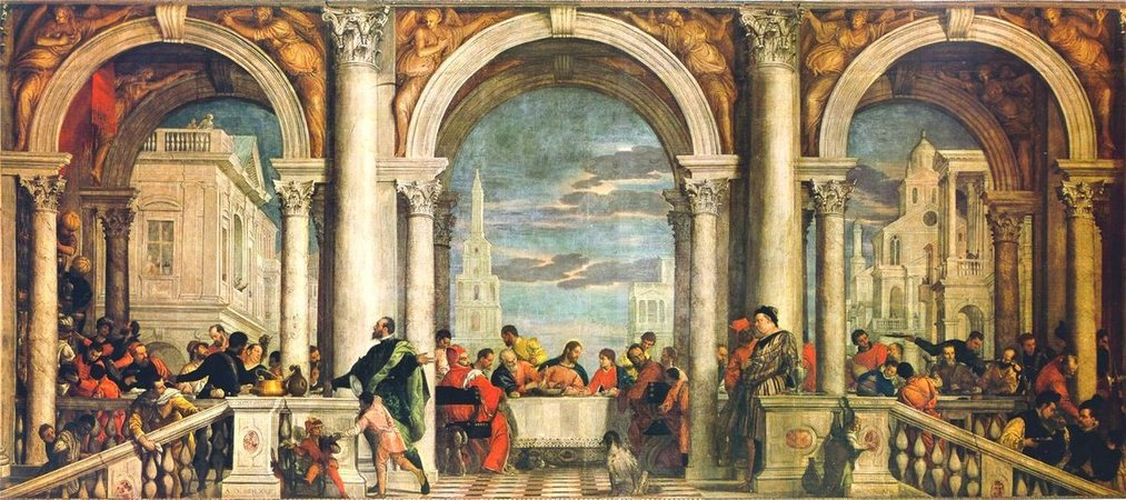 "Paolo Veronese, Feast in the House of Levi, 1573, oil on canvas, 18' 3"" x 42' (Accademia, Venice, Italy)"