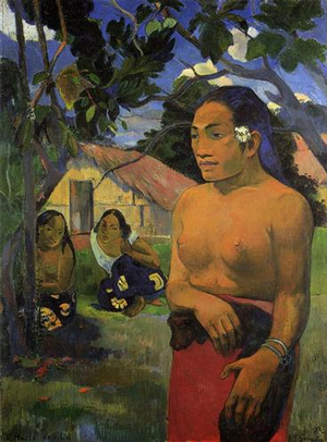 Paul Gauguin, E Haere O I Hia? (Where are you going?), 1892, oil on canvas, 96 x 69 cm (Staatsgalerie, Stuttgart)