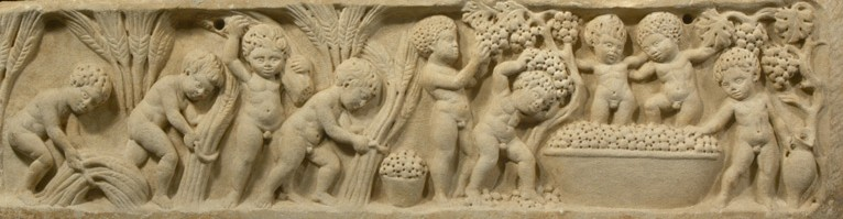 Erotes harvesting wheat and grapes, third or fourth century C.E., marble (photo: unknown)