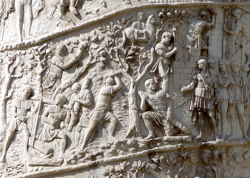 The Emperor (fourth from the lower right) oversees construction (detail), Column of Trajan, dedicated 113 C.E., (photo: Steven Zucker, CC BY-NC-SA 2.0)