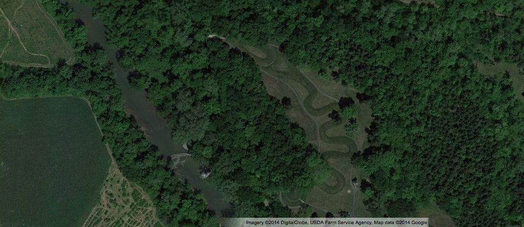 Aerial view of the Great Serpent Mound, c. 1070, Adams County, Ohio