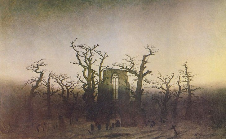 Caspar David Friedrich, The Abbey in the Oakwood, 1809-10, oil on canvas, 110 x 171 cm (Alte Nationalgalerie, Berlin)