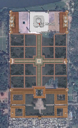 Aerial view from Google Earth, Taj Mahal, Agra, India, 1632-53