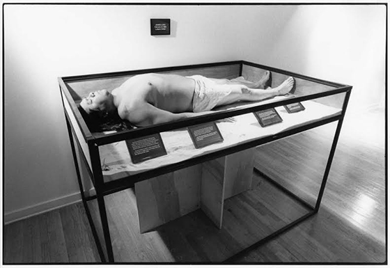 James Luna, Artifact Piece, 1987, photograph of performance 121.9 x 152.4 cm, courtesy of the artist © James Luna, photograph by Robin Holland (New Museum)