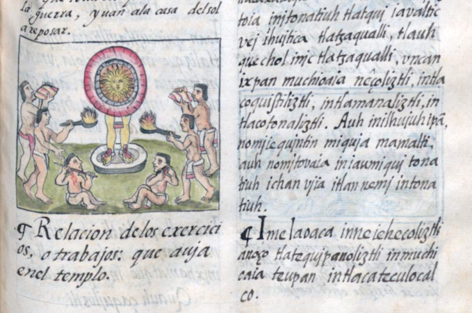 Activities in the temple (detail), Bernardino de Sahagún and collaborators, General History of the Things of New Spain, also called the Florentine Codex, vol. 1, book 2, f. 135r, 1575-1577, watercolor, paper, contemporary vellum Spanish binding, open (approx.): 32 x 43 cm, closed (approx.): 32 x 22 x 5 cm (Medicea Laurenziana Library, Florence, Italy)