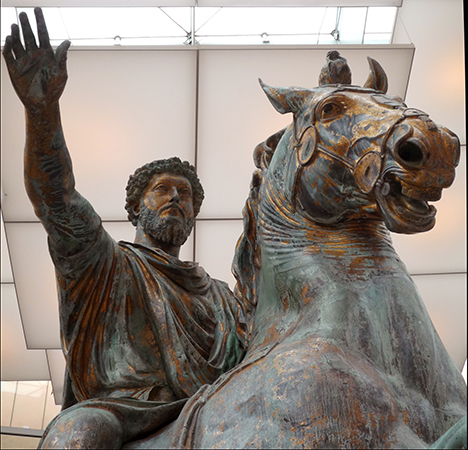 Horse and rider (detail), Equestrian Sculpture of Marcus Aurelius, c. 173-76 C.E., bronze (Capitoline Museums, Rome)