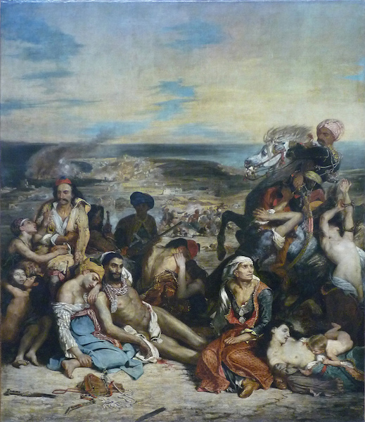 Eugène Delacroix, Scene of the massacre at Chios; Greek families awaiting death or slavery, 1824 Salon, oil on canvas, 164 × 139 inches (419 cm × 354 cm) (Musée du Louvre, Paris)
