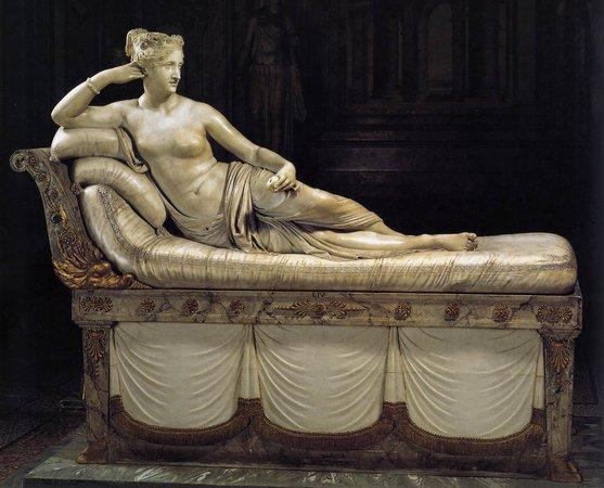 Antonio Canova, Paolina Borghese as Venus Victorious, 1804-08, white marble, 160 x 192 cm (Galleria Borghese, Rome)