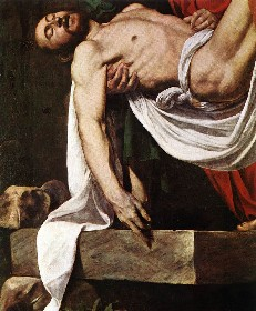 Christ's torso (detail), Caravaggio, Deposition   (Entombment), c. 1600-04, oil on canvas, 300 x 203 cm (Pinacoteca Vaticana, Vatican City)